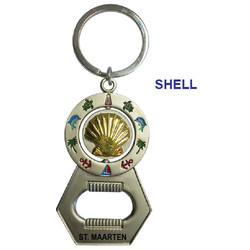 SHELL SPINNER BOTTLE OPENER KEYCHAIN