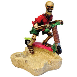 Skeleton Riding Scooter Ceramic Ashtray