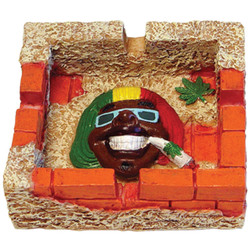Smiling Face Square Rasta Ceramic Ashtray