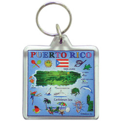 Puerto Rico Map Square Key Chain