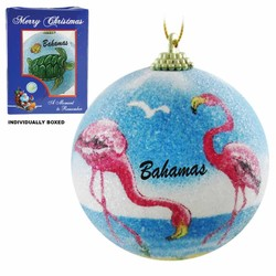 FLAMINGO FROSTED CHRISTMAS ORNAMENTS
