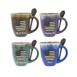 Glazed Ceramic Spoon Mugs US Flag