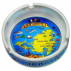 METALLIC SOUVENIR ASHTRAYS, St. Maarten