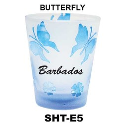 BUTTERFLY etched shot glasses