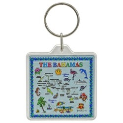 THE BAHAMAS MAP, Acrylic Foil Key Chain