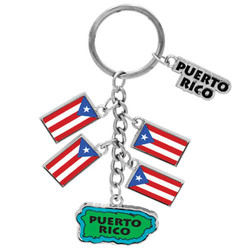 PUERTO RICO METALLIC DANGLING MAP AND FLAG KEYCHAIN