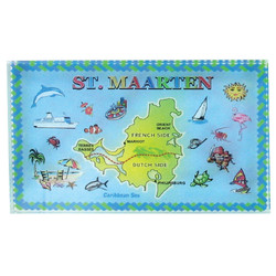 St. Maarten Map Crystal Paperweight