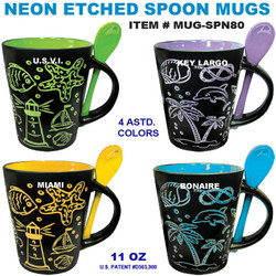 Neon Etched Spoon Mugs