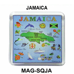 JAMAICA MAP SQUARE MAGNET
