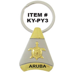 TURTLE PEWTER PYRAMID KEYCHAIN