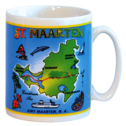 St. Maarten Map Ocean Blue CERAMIC MUG