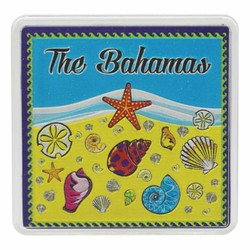 The Bahamas SEA SHELLS Acrylic Foil Magnets