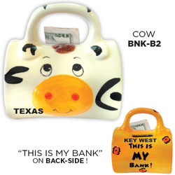Ceramic Cow Bag Bank