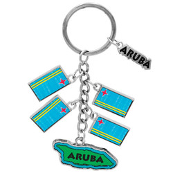 ARUBA METALLIC DANGLING MAP AND FLAG KEYCHAIN
