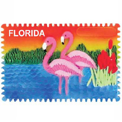 FLAMINGO CERAMIC STAMP MAGNET