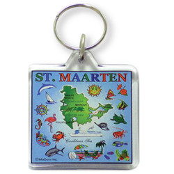 St. Maarten Map Square Acrylic Key Chain