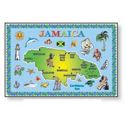 JAMAICA MAP METAL MAGNET