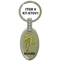 PALM TREE OVAL PEWTER KEYCHAIN