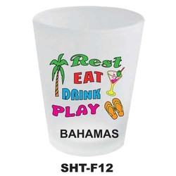 REST, EAT, DRINK, PLAY, NEON SHOT GLASS