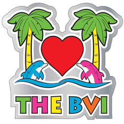 I LOVE BRITISH VIRGIN ISLANDS ENAMEL NEON MAGNET