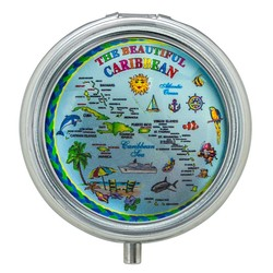 The Beautiful Caribbean Map Glass Top Pill Box