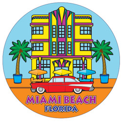 South Beach ROUND FOIL Magnet
