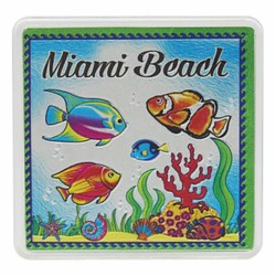 Miami Beach FISH Acrylic Foil Magnets