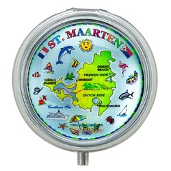 St. Maarten Map GLASS TOP PILL BOX