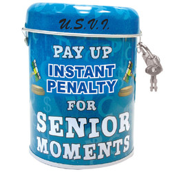 Senior Moment Tin Can Bank
