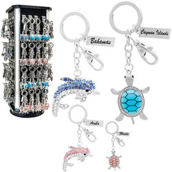 CRYSTALS DOLPHIN & TURTLE KEYCHAIN