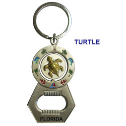 TURTLE SPINNER BOTTLE OPENER KEYCHAIN