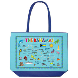 BAHAMAS MAP BEACH BAG