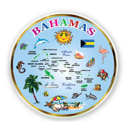 BAHAMAS MAP, MINI DISH MAGNETS