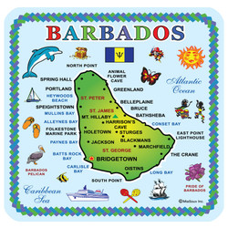 Barbados Map Coasters Pack