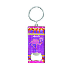 Metallic Bottle Opener Keychain Flamingo