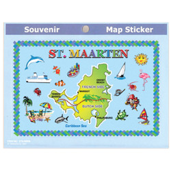 St. Maarten Map Souvenir Sticker