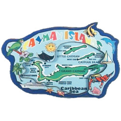 Cayman Islands Map 3D Carved Magnet