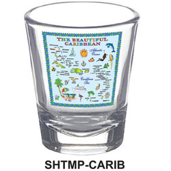 CARIBBEAN MAP SHOT GLASSES