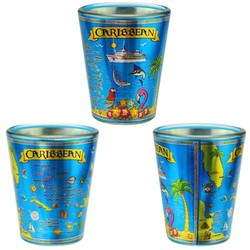CARIBBEAN MAP METALLIC SHOT GLASS