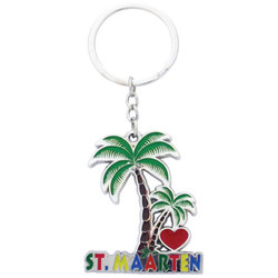 I Love St. Maarten Palm Tree ENAMEL Key Chain