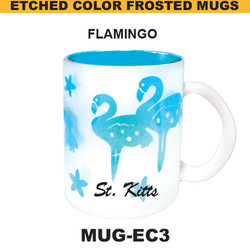 FLAMINGO Etched Color Frosted Mug