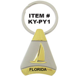 SAILBOAT PEWTER PYRAMID KEYCHA