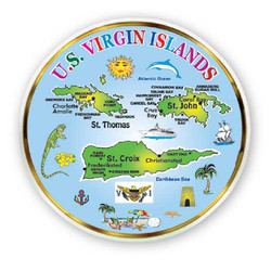 US VIRGIN MAP, MINI PLATE  MAGNETS