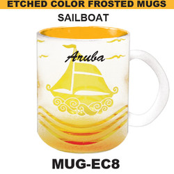 SAILBOAT Etched Color Frosted Mug
