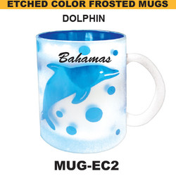 DOLPHIN Etched Color Frosted Mug
