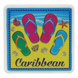 The Caribbean FLIP FLOPS Acrylic Foil Magnets