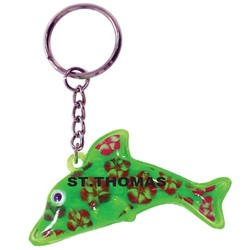 KEY CHAIN DOLPHIN W/HIBISCUS