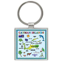 CAYMAN ISLANDS MAP SQUARE KEYCHAIN