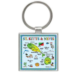 ST KITTS MAP SQUARE KEYCHAIN