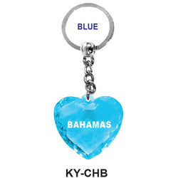 CRYSTAL BLUE HEART KEY CHAIN BLUE
